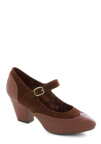 Sure Look Smart Heel in Sienna by Bait Footwear - Work, Vintage Inspired, Better, Mary Jane, Mid, Faux Leather, Brown, Solid, 40s, Scholastic/Collegiate