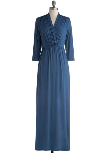 Sweeping Romance Dress - Blue, Solid, Casual, Minimal, Maxi, 3/4 Sleeve, Good, V Neck, Long, Jersey, Knit, Ruching