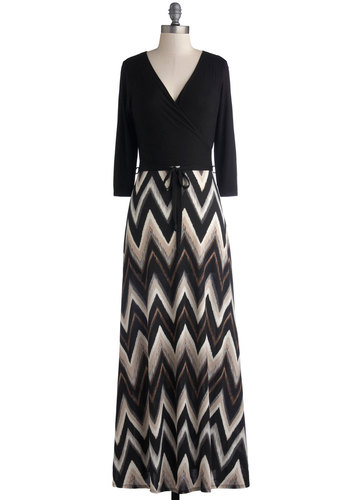 On the Brink of Brilliance Dress - Long, Knit, Black, Grey, White, Chevron, Belted, Casual, Maxi, 3/4 Sleeve, Good, V Neck, Twofer