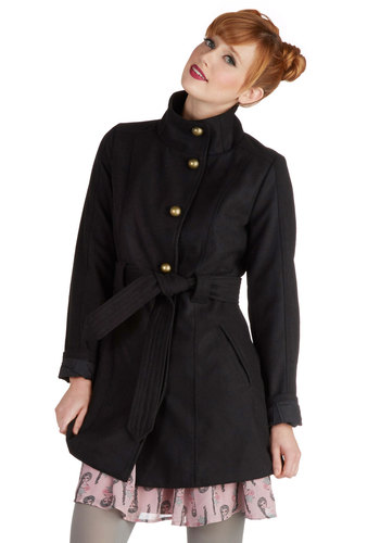 Astronomy Club Coat by Jack by BB Dakota - 3, Black, Solid, Buttons, Belted, Woven, Long, Black