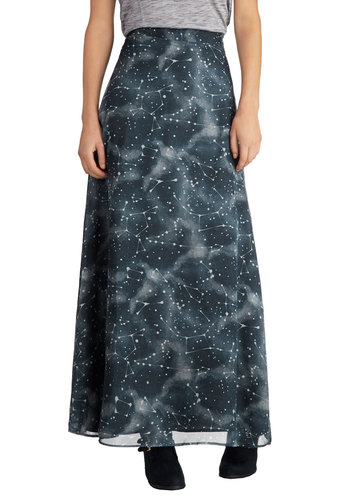 Constellation Elation Skirt by Bea & Dot - Private Label, Long, Chiffon, Woven, Blue, Novelty Print, Casual, Maxi, Exclusives, Halloween, Blue, Gifts Sale