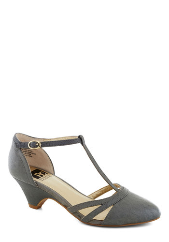 Just Prance Heel in Grey by BC Footwear - Grey, Solid, Cutout, Vintage Inspired, 40s, 30s, Leather, T-Strap, Variation, Better