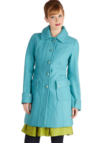 Why 'Ello There! Coat in Sky by Tulle Clothing - Blue, Solid, Buttons, Pockets, Long Sleeve, Collared, 3, Winter, Variation, Blue, Long