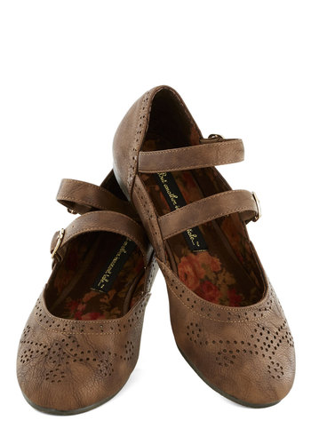 All Over Amherst Flat in Brown by Bait Footwear - Brown, Casual, Flat, Good, Faux Leather, Solid, Scholastic/Collegiate, Mary Jane, Variation