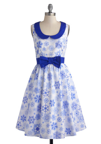 Winter Wanderland Dress - Blue, White, Novelty Print, Bows, Peter Pan Collar, Statement, A-line, Sleeveless, Best, Winter, Holiday Party, Long, Cotton, Woven, Holiday