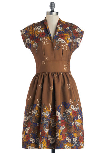 On the Scene Dress by Myrtlewood - Private Label, Woven, Brown, Multi, Floral, Casual, Fit & Flare, Cap Sleeves, Better, V Neck, Exclusives, Press Placement, Long