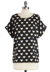 Picnic Date Top - Black, White, Novelty Print, Casual, Short Sleeves, Mid-length, Scoop, Woven, Black, Short Sleeve