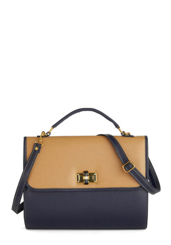 Fabulous Factor Bag - Blue, Solid, Work, Colorblocking, International Designer, Faux Leather, Tan / Cream
