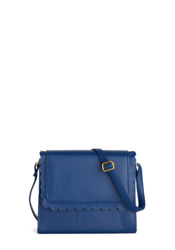 Glacial Reasoning Bag - Blue, Solid, Scallops, Trim, International Designer, Faux Leather