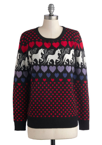 Save the Last Prance Sweater - Red, Print with Animals, Novelty Print, Quirky, Long Sleeve, Better, Crew, Mid-length, Knit, Multi, Folk Art, Multi, Long Sleeve, Holiday