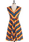 Know Every Angle Dress in Zigzags by Louche - Long, Satin, Woven, Multi, Chevron, Belted, Casual, A-line, Cap Sleeves, Better, International Designer, V Neck