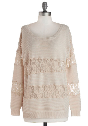 Almond Steamer Sweater - Lace, Casual, Long Sleeve, Mid-length, Sheer, Knit, Solid, Scoop, White, Long Sleeve, Lace