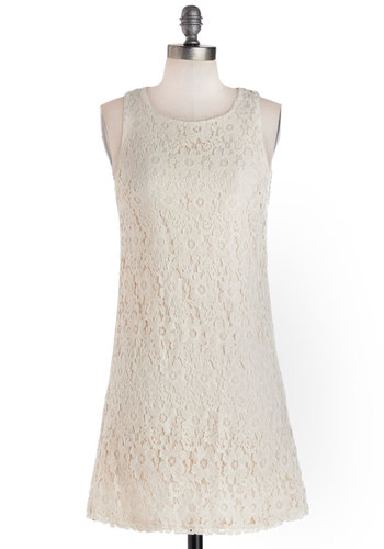 My Plucky Day Dress - Mid-length, Woven, White, Solid, Bows, Cutout, Party, Shift, Sleeveless, Better, Scoop, Crochet, Daytime Party, Graduation