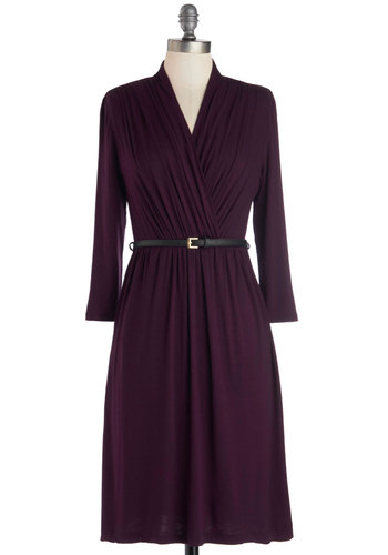 This Is the Life Dress in Amethyst - Purple, Solid, Belted, Work, Casual, Minimal, 3/4 Sleeve, Good, V Neck, Jersey, Knit, Mid-length