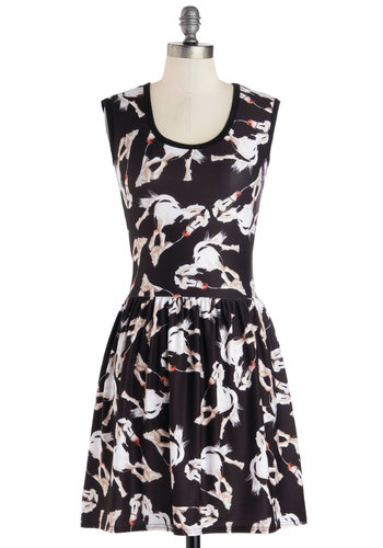 My Kinda Gallop Dress in Horses - Black, White, Print with Animals, Casual, A-line, Sleeveless, Good, Scoop, Mid-length, Knit, Quirky, Variation