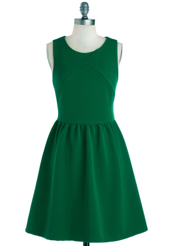 Sugar Snap Please Dress - Green, Solid, Casual, A-line, Tank top (2 thick straps), Good, Woven, Minimal, Scoop, Mid-length
