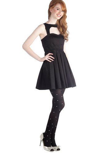 Last Slow Dance Dress - Black, Solid, Cutout, Party, A-line, Sleeveless, Short, Steampunk, Cocktail, Holiday Party, Cotton, Best Seller, Fit & Flare, Sweetheart, Variation, LBD