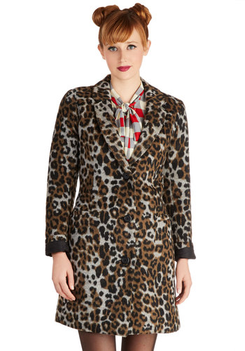 It's Been A-Wild Coat by BB Dakota - Long, 3, Brown, Animal Print, Buttons, Girls Night Out, Long Sleeve, Better, Pockets, Fall, Winter, Multi