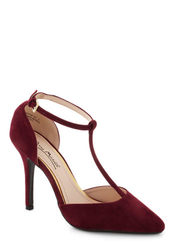 Change in Altitude Heel - Red, Solid, Formal, Wedding, Cocktail, High, Faux Leather, Good, Party, Holiday Party, T-Strap, 20s, 30s, 40s