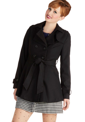 After the Encore Coat - Long, 3, Black, Solid, Buttons, Epaulets, Pockets, Belted, Long Sleeve, Fall, Winter, Black