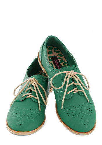 Trips of the Trade Flat in Emerald - Flat, Solid, Casual, Lace Up, Variation, Good
