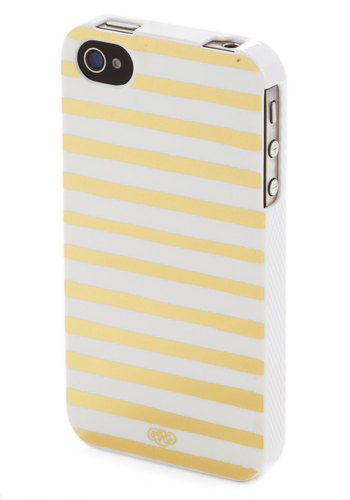 Brilliant Reception iPhone 4/4S Case by Rifle Paper Co - White, Gold, Stripes, Travel