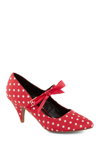 Quick Winking Heel - Mid, Red, White, Polka Dots, Bows, Party, Rockabilly, Pinup, Vintage Inspired, 50s, Mary Jane, Good