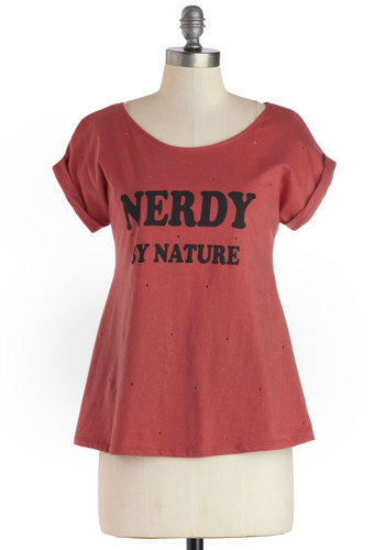 Geek Chic Tee - Red, Black, Casual, Short Sleeves, Mid-length, Jersey, Cotton, Knit, Novelty Print, Scoop, Red, Short Sleeve