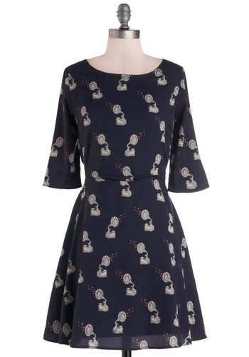 Who's on the Phonograph? Dress by Sugarhill Boutique - Short, Woven, Blue, Multi, Novelty Print, Lace, Casual, A-line, 3/4 Sleeve, Better, Scoop