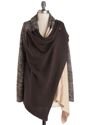 Flavor Fusion Cardigan by Ryu - Mid-length, Knit, Brown, Tan / Cream, Solid, Casual, Long Sleeve, Fall, Cowl, Brown, Long Sleeve