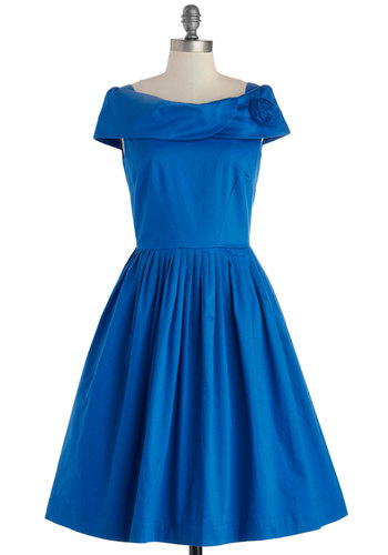 Curtsy Call Dress by Emily and Fin - Long, Cotton, Woven, Blue, Solid, Flower, Cocktail, Fit & Flare, Better, International Designer, Pockets, Wedding, Party, Bridesmaid, Vintage Inspired, 40s, 50s, 60s, Cap Sleeves, Boat