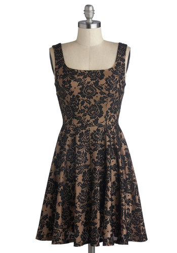 Elegant Glance Dress - Black, Tan / Cream, Lace, Party, A-line, Tank top (2 thick straps), Good, Scoop, Mid-length, Woven, Print, Exposed zipper