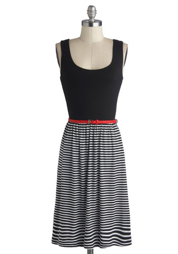 Stately Lines Dress - Black, White, Stripes, Belted, Casual, Nautical, Twofer, Tank top (2 thick straps), Good, Scoop, Mid-length, Jersey, Knit