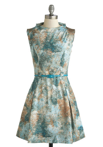 Yes You Canopy Dress by Louche - Mid-length, Satin, Knit, Green, Multi, Print, Pleats, Belted, Party, Fit & Flare, Sleeveless, International Designer, Daytime Party