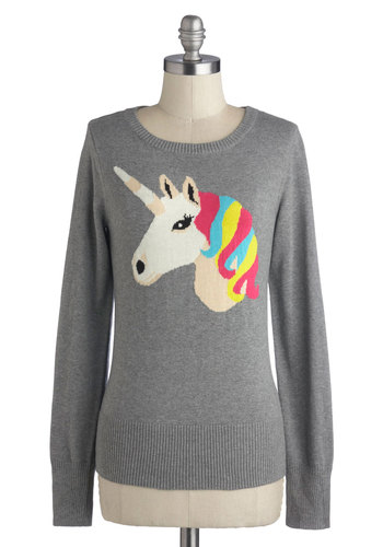 Mystical Charm Sweater by Louche - Mid-length, Cotton, Knit, Grey, Multi, Print with Animals, Novelty Print, Casual, Quirky, Long Sleeve, Crew, Grey, Long Sleeve