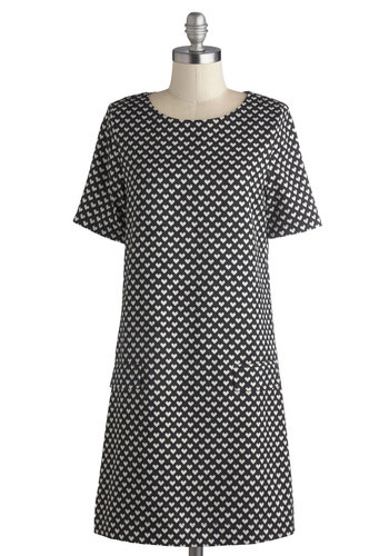 Shift Your Focus Dress by Louche - Mid-length, Woven, White, Print, Exposed zipper, Casual, Shift, Short Sleeves, Better, International Designer, Scoop, Valentine's, Black