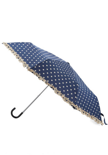 Legit's a Beautiful Day Umbrella by Louche - Woven, Blue, Tan / Cream, Polka Dots, Trim, Spring