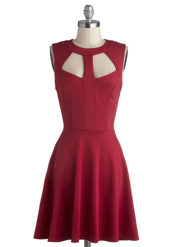 Foreshadowing Fabulous Dress in Burgundy - Mid-length, Knit, Red, Solid, Cutout, Party, A-line, Sleeveless, Good, Crew, Variation