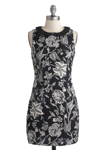 Gone Microfiching Dress - White, Floral, Casual, A-line, Sleeveless, Good, Collared, Short, Woven, Peter Pan Collar, Black