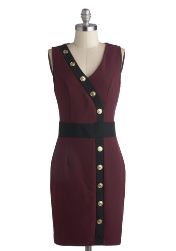Fall Buttoned Up Dress - Mid-length, Red, Black, Gold, Buttons, Work, Sheath / Shift, Sleeveless, Good, V Neck, Woven
