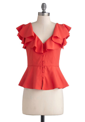 Giddy Glam Top - Solid, Buttons, Cutout, Ruffles, Peplum, Cap Sleeves, Better, Woven, Mid-length, Pink, Daytime Party, Vintage Inspired, V Neck, Pink, Short Sleeve