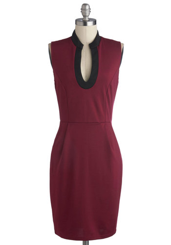Bibliophile Style Dress - Mid-length, Knit, Red, Black, Work, Sheath / Shift, Sleeveless, Good, Pockets, Top Rated