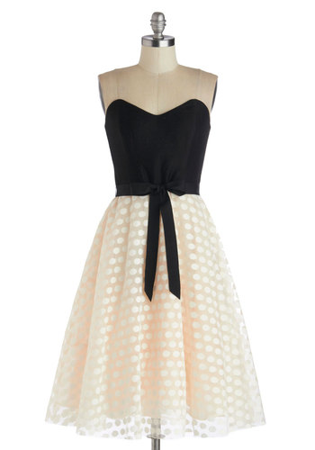 All Out and About Dress by Corey Lynn Calter - Mid-length, Knit, Woven, Tan / Cream, Black, Cocktail, Fit & Flare, Best, Sweetheart, White, Polka Dots, Belted, Twofer, Strapless, Formal, Luxe, Exclusives