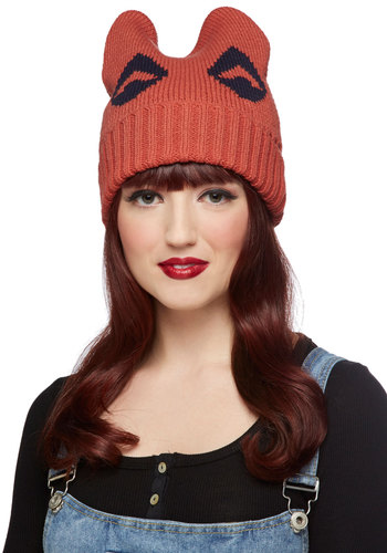 Fox Colder Hat - Orange, Blue, Fall, Winter, Good, Knit, Print with Animals, Quirky, 90s