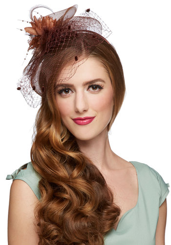 Post-Production Party Fascinator - Brown, Solid, Flower, Formal, Wedding, Luxe, Good, Feathers, Holiday Party