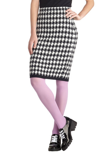 User Experience Skirt - Knit, Houndstooth, Work, Pencil, Black, White, Black, White, Mid-length