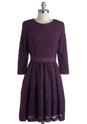 Under the Grape Arbor Dress - Mid-length, Purple, Solid, Lace, Pleats, Party, A-line, Long Sleeve, Better, Crew, Exposed zipper, Winter, Woven