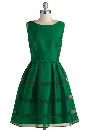 Dinner Party Darling Dress in Emerald - Green, Solid, Buttons, Special Occasion, Prom, Wedding, Cocktail, Bridesmaid, Vintage Inspired, Fit & Flare, Sleeveless, Fall, Better, Variation, Boat, Mid-length, Woven, Party, Holiday Party, 50s, 60s