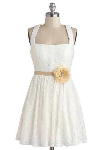 Case Study in Charm Dress - Knit, White, Solid, Flower, Lace, Bride, A-line, Good, Rhinestones, Daytime Party, Graduation, Sleeveless, Lace, Sundress, Wedding