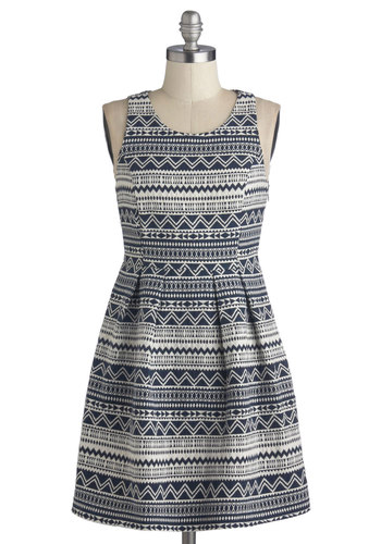 Tessellation Station Dress - Woven, Blue, White, Print, Casual, A-line, Tank top (2 thick straps), Good, Scoop, Folk Art, Short